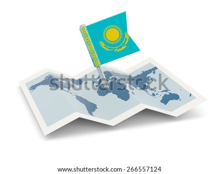 Map with flag of kazakhstan isolated on white - stock photo