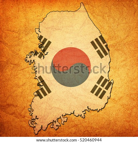 map with flag of south korea with national borders