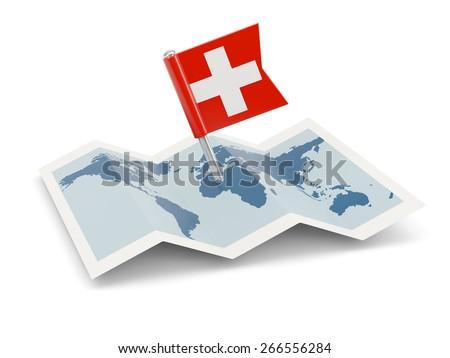 Map with flag of switzerland isolated on white - stock photo