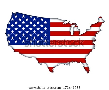 Map with flag of the United States of America