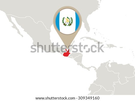 Map with highlighted Guatemala map and flag, Rasterized Copy