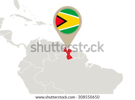 Map with highlighted Guyana map and flag, Rasterized Copy
