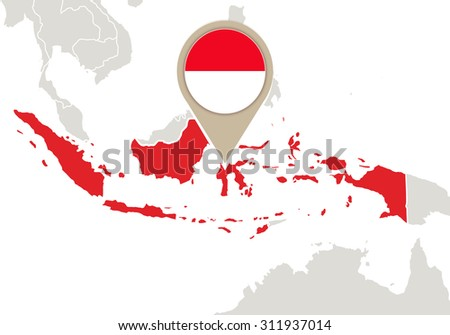 Map with highlighted Indonesia map and flag, Rasterized Copy - stock photo