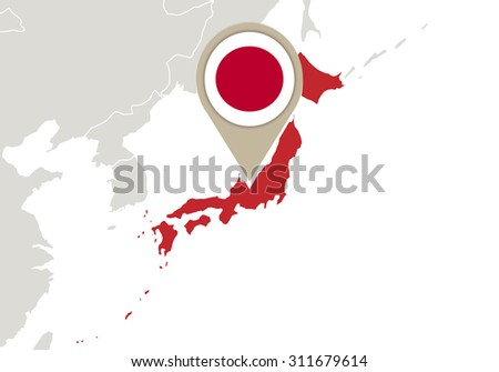 Map with highlighted Japan map and flag, Rasterized Copy - stock photo