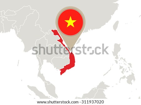 Map with highlighted Vietnam map and flag, Rasterized Copy - stock photo