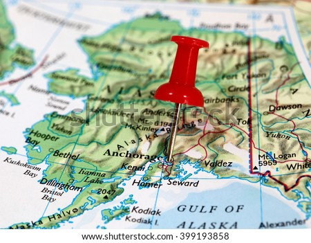Map Pin Point Anchorage Alaska Usa Stock Photo - Alaska usa map