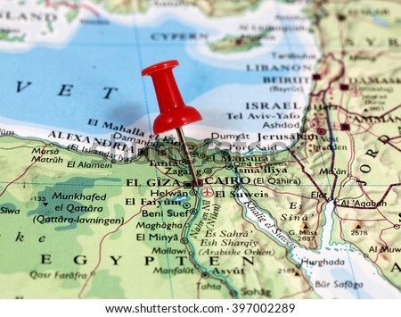 Map pin point cairo egypt africa stock photo royalty free map with pin point of cairo in egypt africa gumiabroncs Images