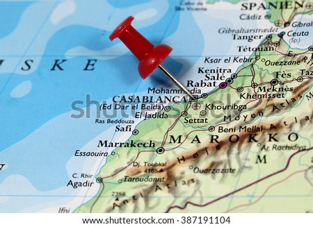 Map with pin point of Casablanca in Morocco - stock photo