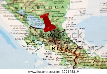 Map Pin Point Costa Rica Caribbean Stock Photo Royalty Free