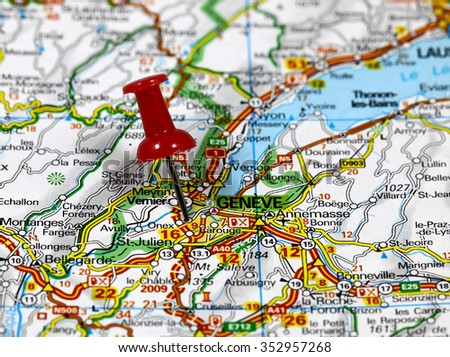 Map with pin point of Geneve in Switzerland - stock photo