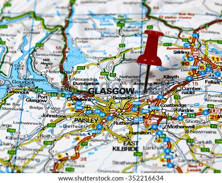 Map with pin point of Glasgow in Scotland - stock photo