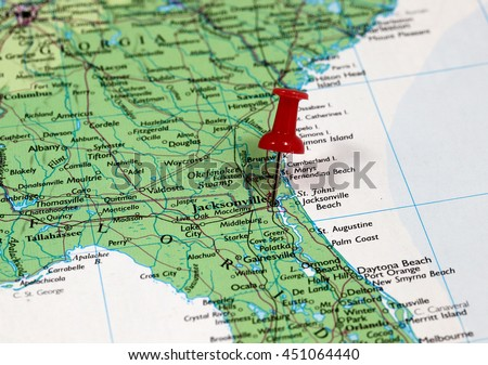 Map With Pin Point Of Jacksonville In Florida Usa