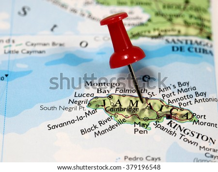 Map with pin point of Jamaica in Caribbean