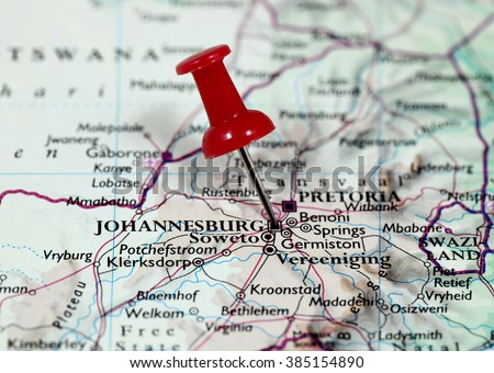 Map with pin point of Johannesburg in South Africa - stock photo