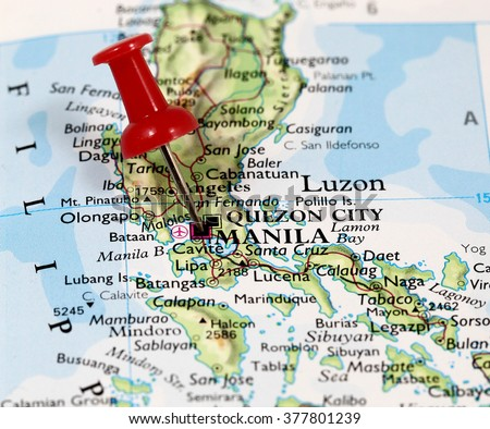 Map Pin Point Manila On Philippines Stock Photo Royalty Free