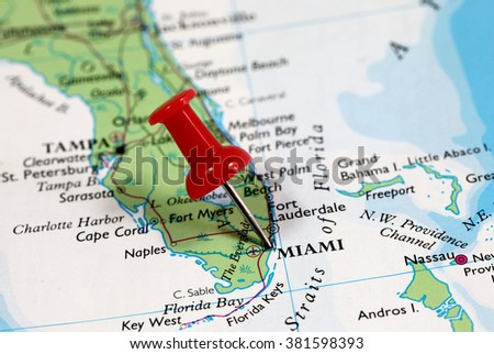 map with pin point of miami in florida usa