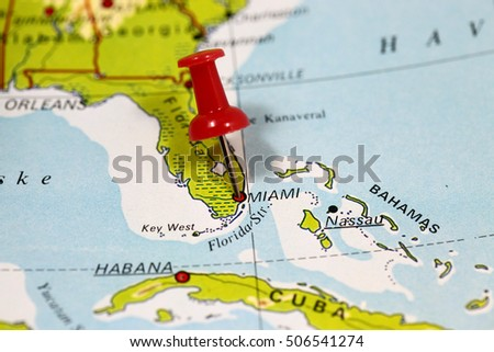 Map with pin point of Miami in Florida, USA
