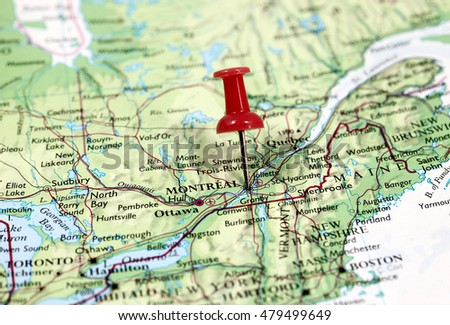 Map Pin Point Montreal Canada Stock Photo Shutterstock - Montreal canada map