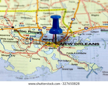 map with pin point of new orleans in usa - stock photo