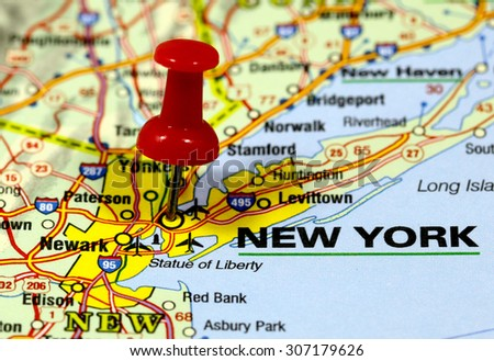 map with pin point of new york in usa