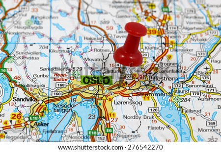 Map with pin point of Oslo in Norway - stock photo