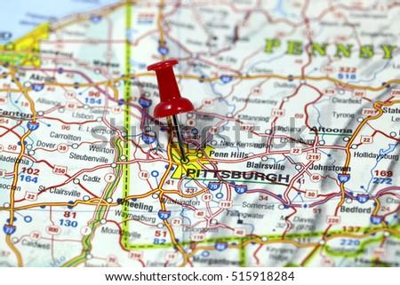 Pittsburgh Map Banque DImage Libre De Droit Photos Vecteurs Et - Pittsburgh on us map