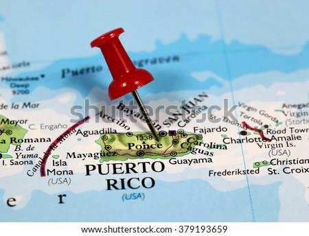 Map Pin Point Puerto Rico Caribbean Stock Photo - Puerto rico map
