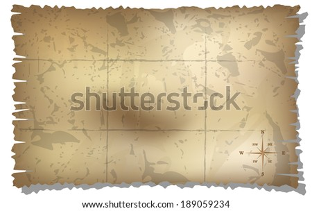 map with rose of wind background - stock photo