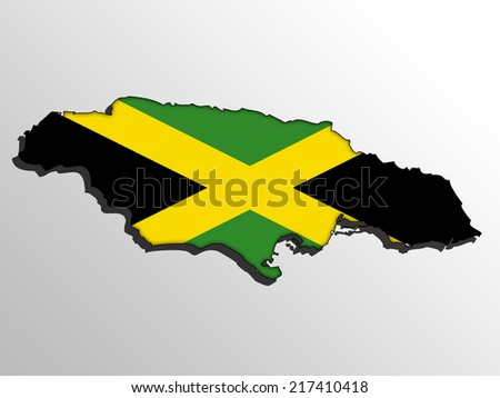 Map with the flag inside - Jamaica