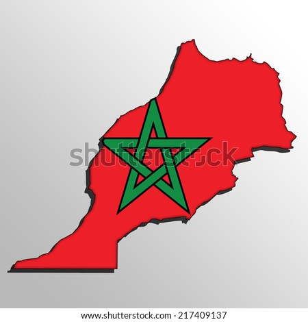 Map with the flag inside - Morocco