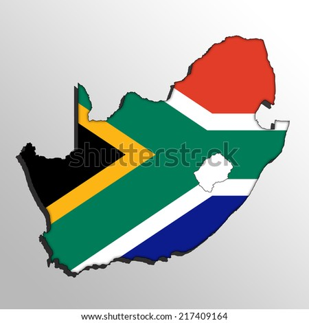 Map with the flag inside - South Africa