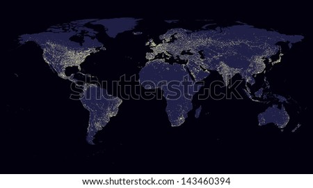 map world background blue abstract light illumination - stock photo