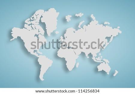 map world on blue wall - stock photo