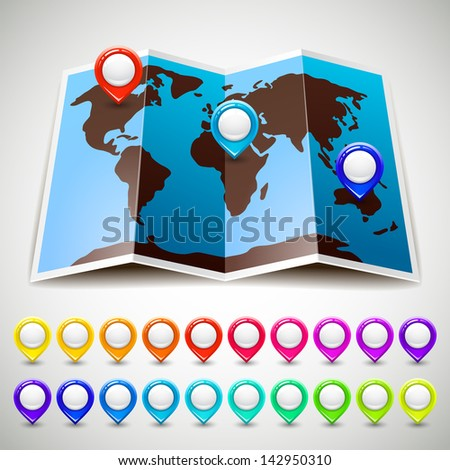Map world with colorful pin pointers location. Vector version (eps) also available in gallery - stock photo