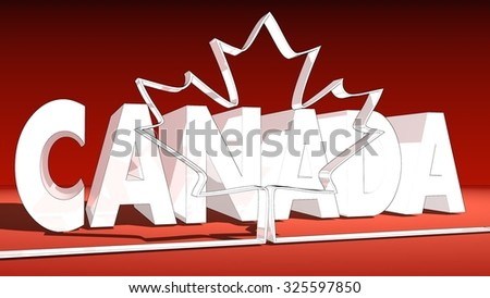 maple leaf icon from Canada national flag and country name behind - stock photo