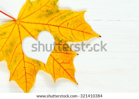 Maple leaf with heart shape on the white wooden background - stock photo