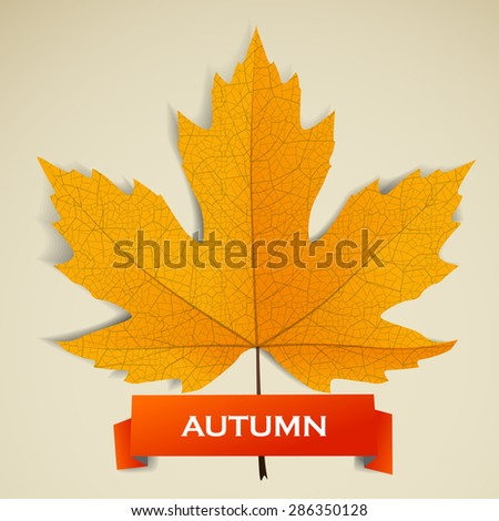 Maple leave with autumn banner. Raster version - stock photo