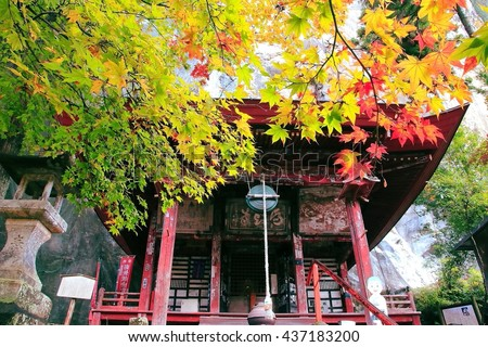 Maple leaves turning red in autumn in front of a historical Japanese temple. Photoed in Urayama, Chichibu, Saitama, Japan. The Japanese character is the name of the temple, Hashidatedo.  - stock photo