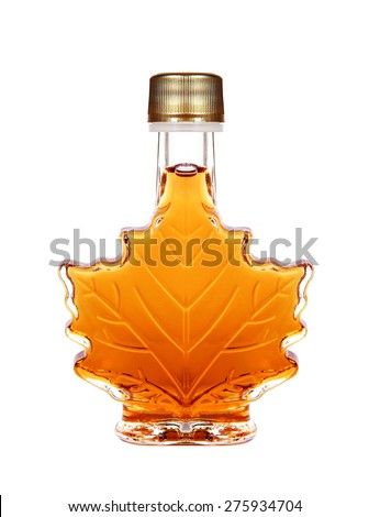 Maple Syrup Bottle Isolated On A White Background - stock photo