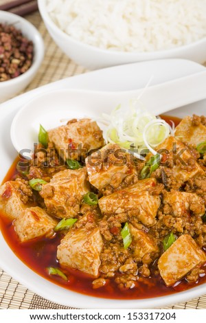 Mapo Tofu - Tofu and minced pork cooked with chili bean paste, fermented black beans, chili oil and Szechuan peppers, garnished with spring onions. Served with white steamed rice.  - stock photo