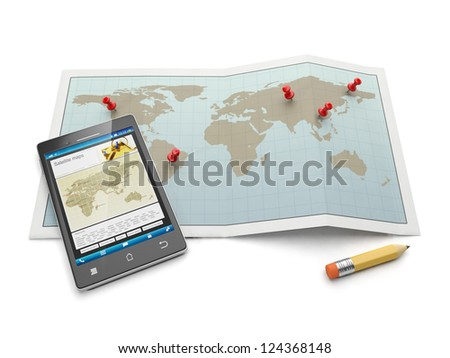 Maps and navigational charts. Mobile phone and search for the location map - stock photo