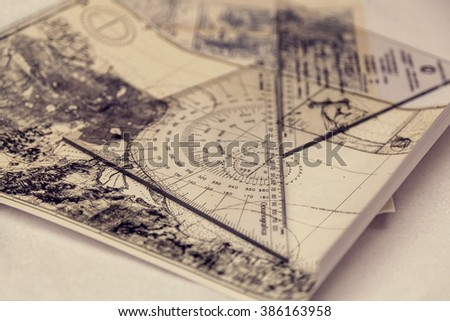 Maps and plotter - stock photo