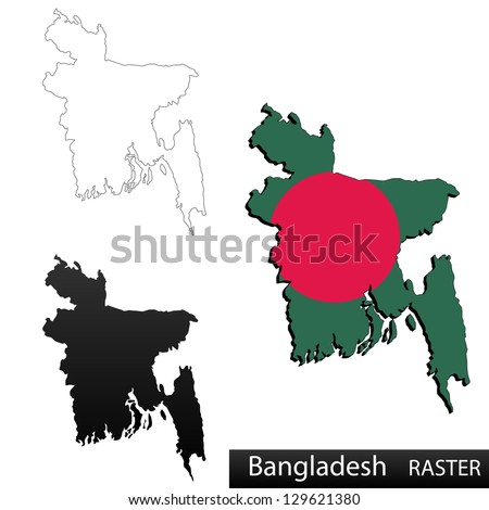 Maps of Bangladesh, 3 dimensional with flag clipped inside borders,and shadow, and black and white contours of country shape, raster copy