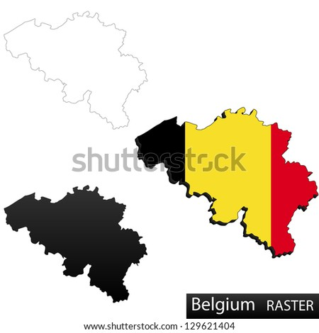 Maps of Belgium, 3 dimensional with flag clipped inside borders,and shadow, and black and white contours of country shape, raster copy - stock photo