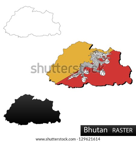 Maps of Bhutan, 3 dimensional with flag clipped inside borders,and shadow, and black and white contours of country shape, raster copy