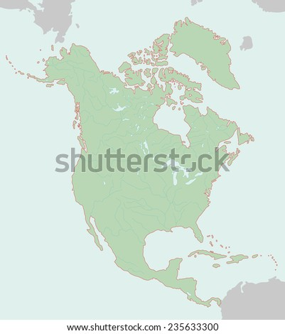 Maps of North America - stock photo