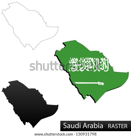 Maps of Saudi Arabia, 3 dimensional with flag clipped inside borders,and shadow, and black and white contours of country shape, raster copy