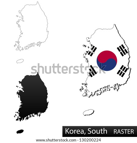 Maps of South Korea, 3 dimensional with flag clipped inside borders,and shadow, and black and white contours of country shape, raster copy