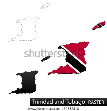 Maps of Trinidad and Tobago, 3 dimensional with flag clipped inside borders,and shadow, and black and white contours of country shape, raster copy - stock photo