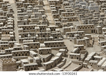 Maquette of old Jerusalem - stock photo